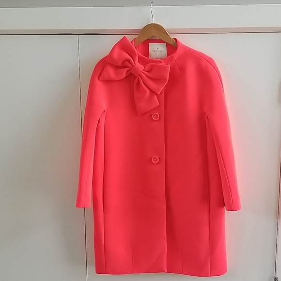 NWOT Kate Spade Coral Bow Coat